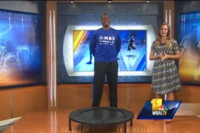 WBAL Fitness Segment, Monte demonstrates a trampoline workout