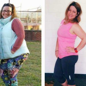Woman in a puff vest in the before and workout clothes in after