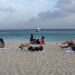 Beach exercising legs
