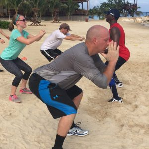Group squats with Celebrity Fitness Trainer