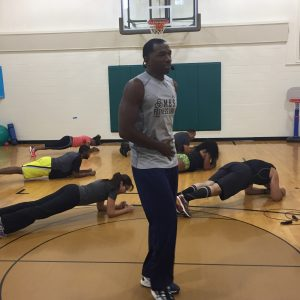 Core exercises with group in gym