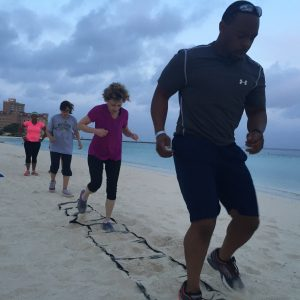Running through obstacles on beach