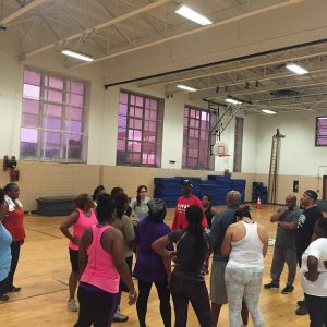 Group learning with fitness trainer