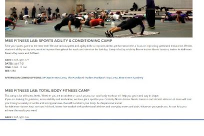 MBS Fitness Lab Summer Camp for KIDS and ADULTS!
